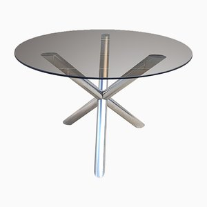 Smoked Glass and Chromed Metal Dining Table, 1970s