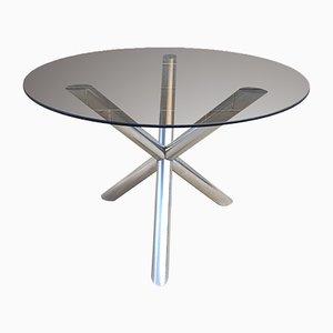 Tavolo da pranzo in vetro fumé e metallo cromato, anni '70