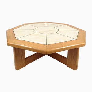 Vintage Travertine and Oak Coffee Table, 1970s