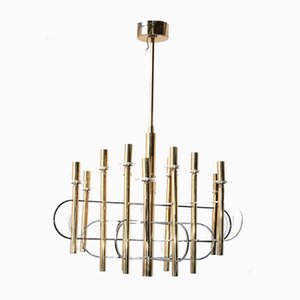 Large Vintage Modernist Chandelier by Gaetano Sciolari for Sciolari