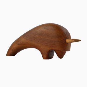 Teak Bull Sculpture by Arne Basse, 1960s