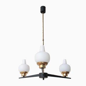 Mid-Century Deckenlampe aus Opalglas, Eisen & Messing, 1950er