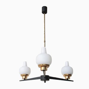 Mid-Century Opaline Glass, Iron, and Brass Ceiling Lamp, 1950s