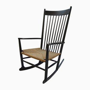 Rocking Chair Modèle J16 en Hêtre Noir par Hans J. Wegner pour FDB Mobler, 1964