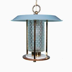Lampe à Suspension Mid-Century en Laiton, Teck, Acier Laqué Bleu et Verre, Italie