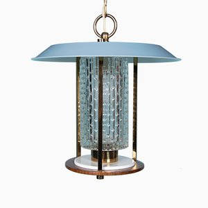 Mid-Century Italian Brass, Teak, Blue Lacquered Steel, and Glass Pendant Lamp