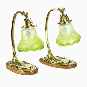 Lámparas de mesa antiguas de latón. Juego de 2