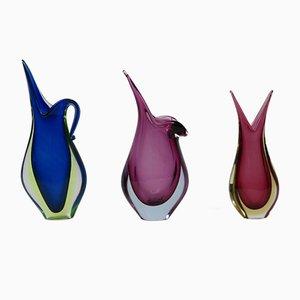 Jarrones italianos de cristal de Murano, años 60. Juego de 3