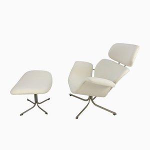 Big Tulip Chair & Fußhocker Set von Pierre Paulin für Artifort, 1960er
