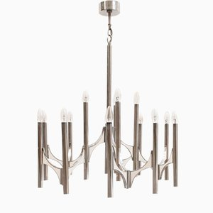 Italian Chromed Brass Chandelier by Gaetano Sciolari for Sciolari, 1970s