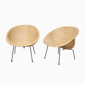 Satellite Woven Rattan Lounge Chairs, 1960s, Set of 2