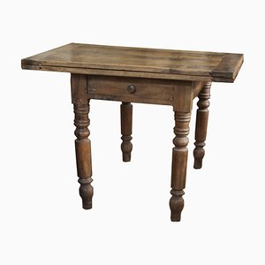 Antique Italian Walnut Extendable Side Table