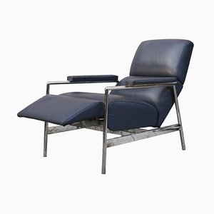 Blue Leather Lounge Chair from Verzelloni, 1990s