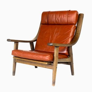 Model GE 530 Stained Oak Lounge Chair by Hans J. Wegner for Getama, 1970s
