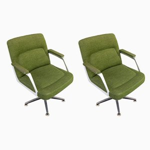 Aluminum and Fabric Office Lounge Chairs, 1970s, Set of 2