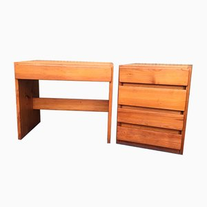 Pine Desk and Dresser Set from Maison Regain, 1960s, Set of 2