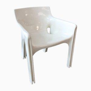 Silla de comedor modelo Gaudi blanca de Vico Magistretti para Artemide, años 70