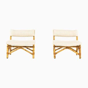 Rattan Lounge Chairs, 1950s, Set of 2