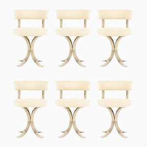 Chrome Steel and Beige Fabric Dining Chairs, 1970s, Set of 6