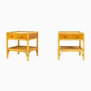 Rattan, Mahogany, and Bamboo Bedside Nightstands, 1950s, Set of 2