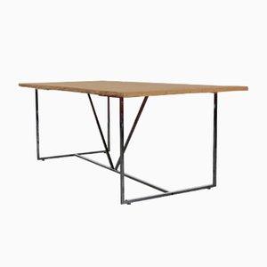 Mesa de comedor de roble y acero cromado de Atelier Borella