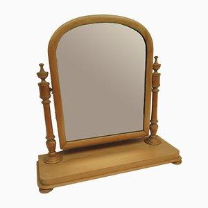 Antiker viktorianischer Spiegel mit Rahmen aus Kiefernholz