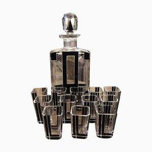 Juego de jarra y vasos italianos en blanco y negro, años 30. Juego de 13
