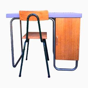 Escritorio y silla de roble de Mobilor, años 50. Juego de 2