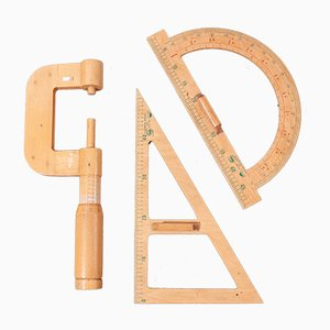 Große Messwerkzeuge aus Holz, 1950er, 3er Set