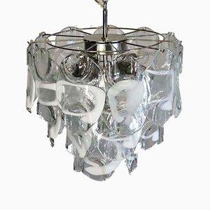 Lámpara de araña italiana vintage de cristal de Murano, 1984