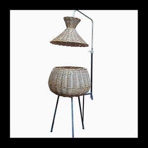 Mid-Century Stehlampe aus Rattan & Metall, 1950er