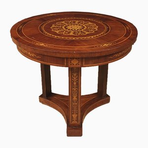Italian Inlaid Walnut, Rosewood, Maple, and Mahogany Side Table, 1960s