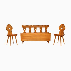 Vintage Beistellstühle & Bank aus massivem Ulmenholz