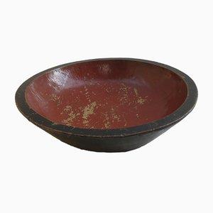 Große lackierte Vintage Schale in Rot & Schwarz