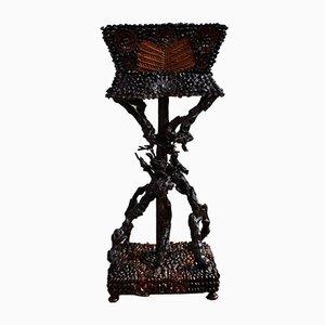 Vaso da fiori Tramp Art antico vittoriano, fine XIX secolo