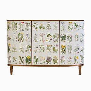 Cabinet with Nordens Flora Illustrations, 1960s