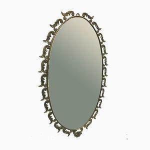 Italienischer Spiegel mit Messingrahmen, 1950er