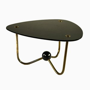 Vintage Art Deco Style Brass and Glass Side Table, 1950s