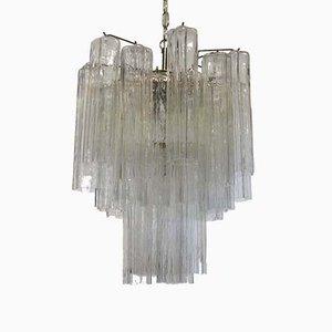 Lámpara de araña italiana vintage con tubos de cristal de Murano, años 60