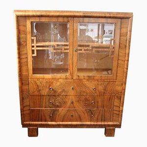 Vintage Art Deco Walnut and Faceted Glass Cabinet, 1920s
