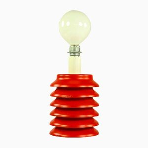 Mid-Century Red Steel Table Lamp