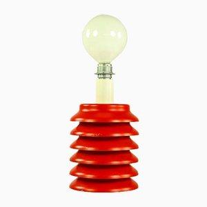 Mid-Century Tischlampe aus rot lackiertem Stahlblech