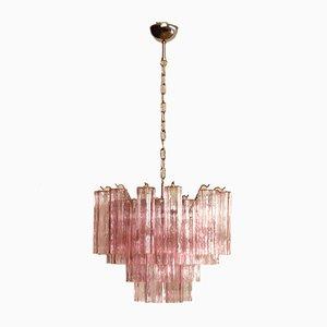 Vintage Italian Pink Murano Glass Tube Chandelier, 1980s