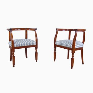 Antique Walnut Lounge Chairs, Set of 2