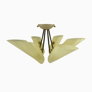 Vintage Glass and Brass Ceiling Lamp, 1950s