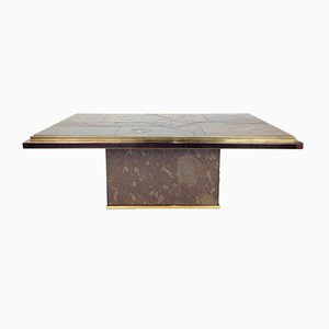 Stone and Bronze Coffee Table by Ad Stam for Fedam, 1970s