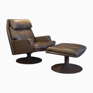 Vintage Leather Swivel Lounge Chair & Ottoman Set from Akwita, 1970s