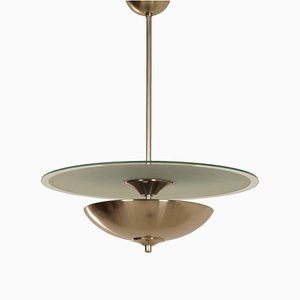 Art Deco Pendant Light with Glass Disc, 1930s
