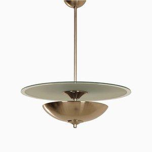 Lampe à Suspension Art Déco avec Disque en Verre, 1930s