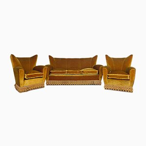 Mid-Century Velvet Sofas by Paolo Buffa, Set of 3